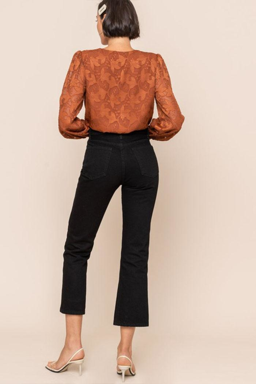All In Favor Embroidery Surplice Bodysuit - Back Cropped Image