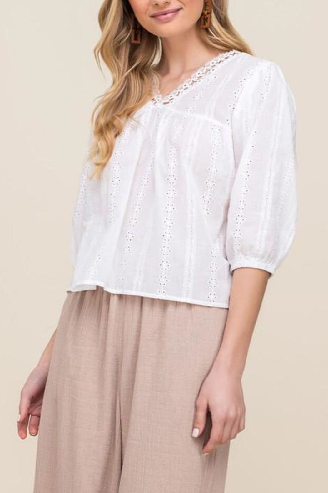 All In Favor Eyelet Balloon-Sleeve Top - Main Image