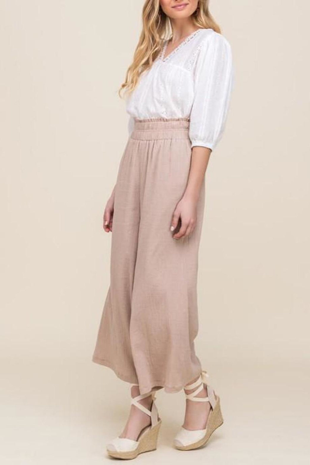 All In Favor Eyelet Balloon-Sleeve Top - Back Cropped Image