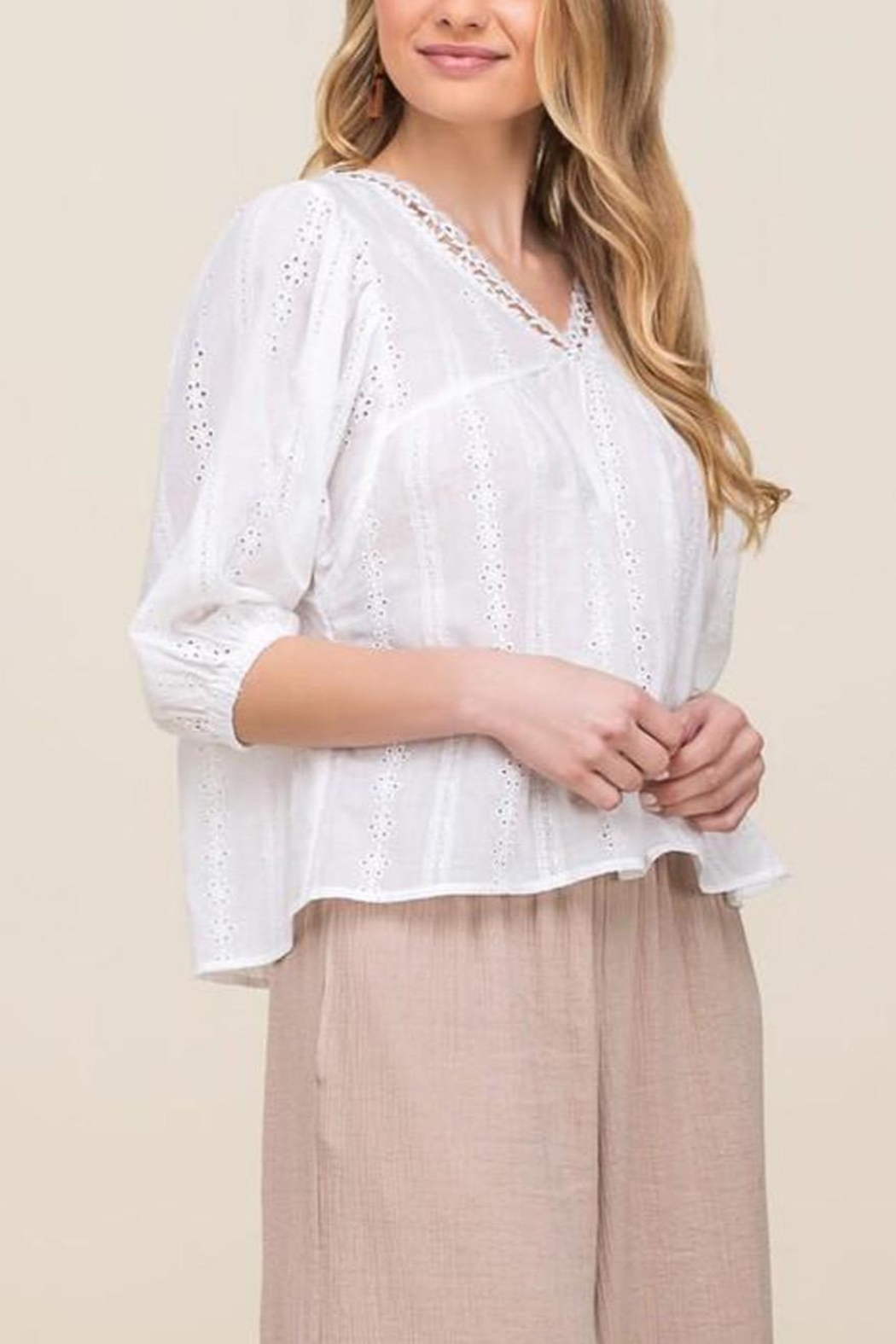 All In Favor Eyelet Balloon-Sleeve Top - Front Full Image