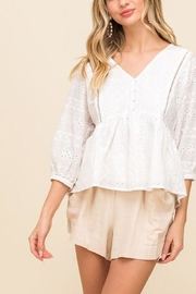 All In Favor Eyelet Button-Down Top - Product Mini Image