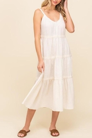 All In Favor Lace-Trim Tiered Midi-Dress - Product Mini Image