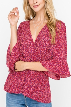 All In Favor Peplum Printed Top - Product List Image