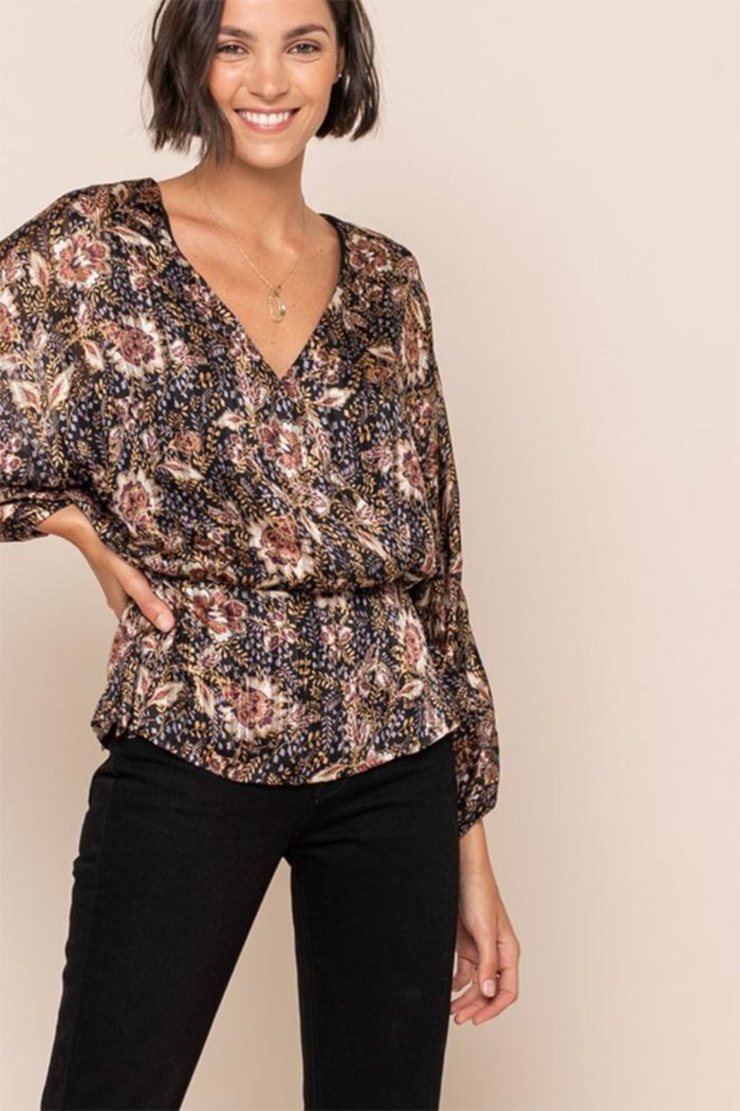 All In Favor Print Surplice Top - Front Full Image