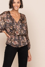 All In Favor Print Surplice Top - Front full body