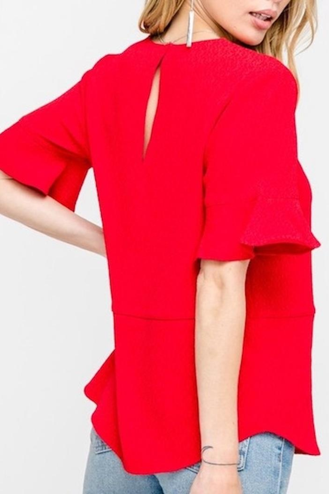 All In Favor Ruffle Sleeve Top - Side Cropped Image