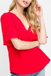 All In Favor Ruffle Sleeve Top - Front cropped
