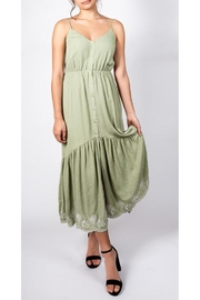 All In Favor Sage Emnbroidered Dress - Front full body