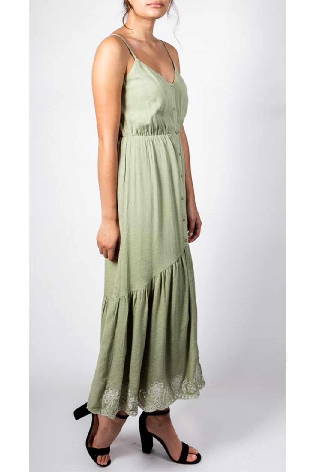 All In Favor Sage Emnbroidered Dress - Back Cropped Image