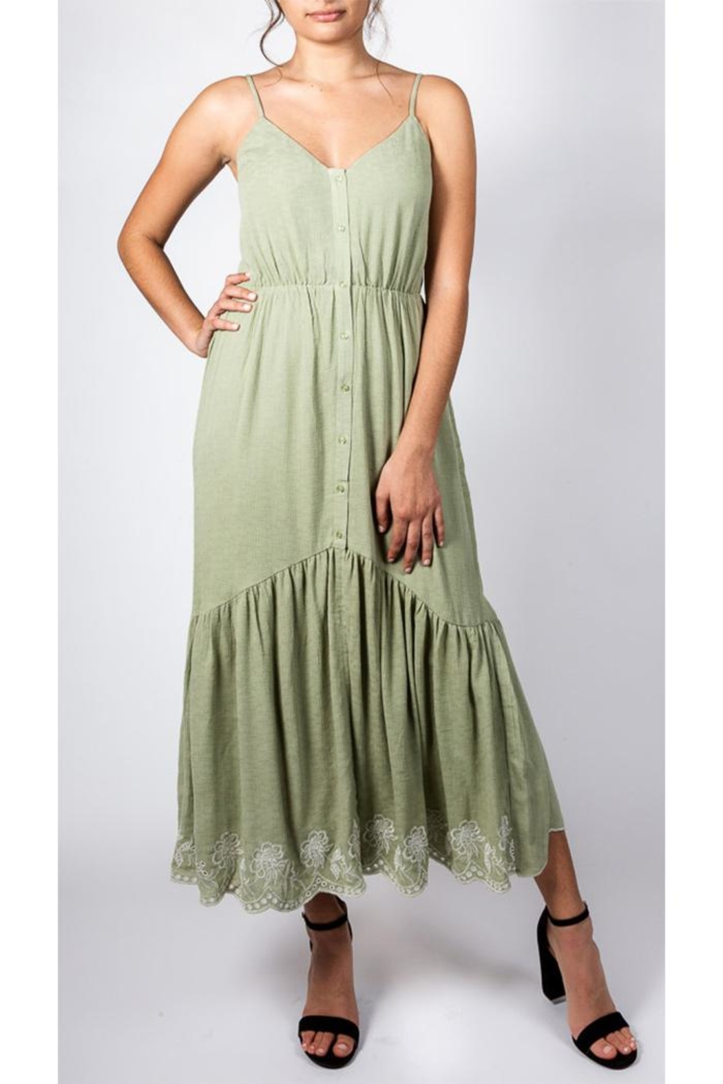 All In Favor Sage Emnbroidered Dress - Side Cropped Image