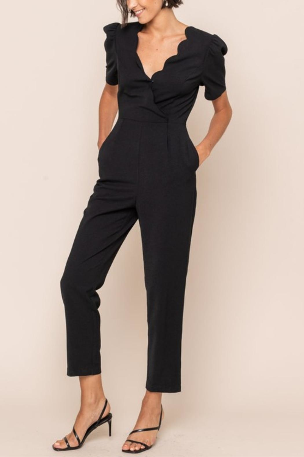 All In Favor Scallop Surplice Jumpsuit - Front Full Image