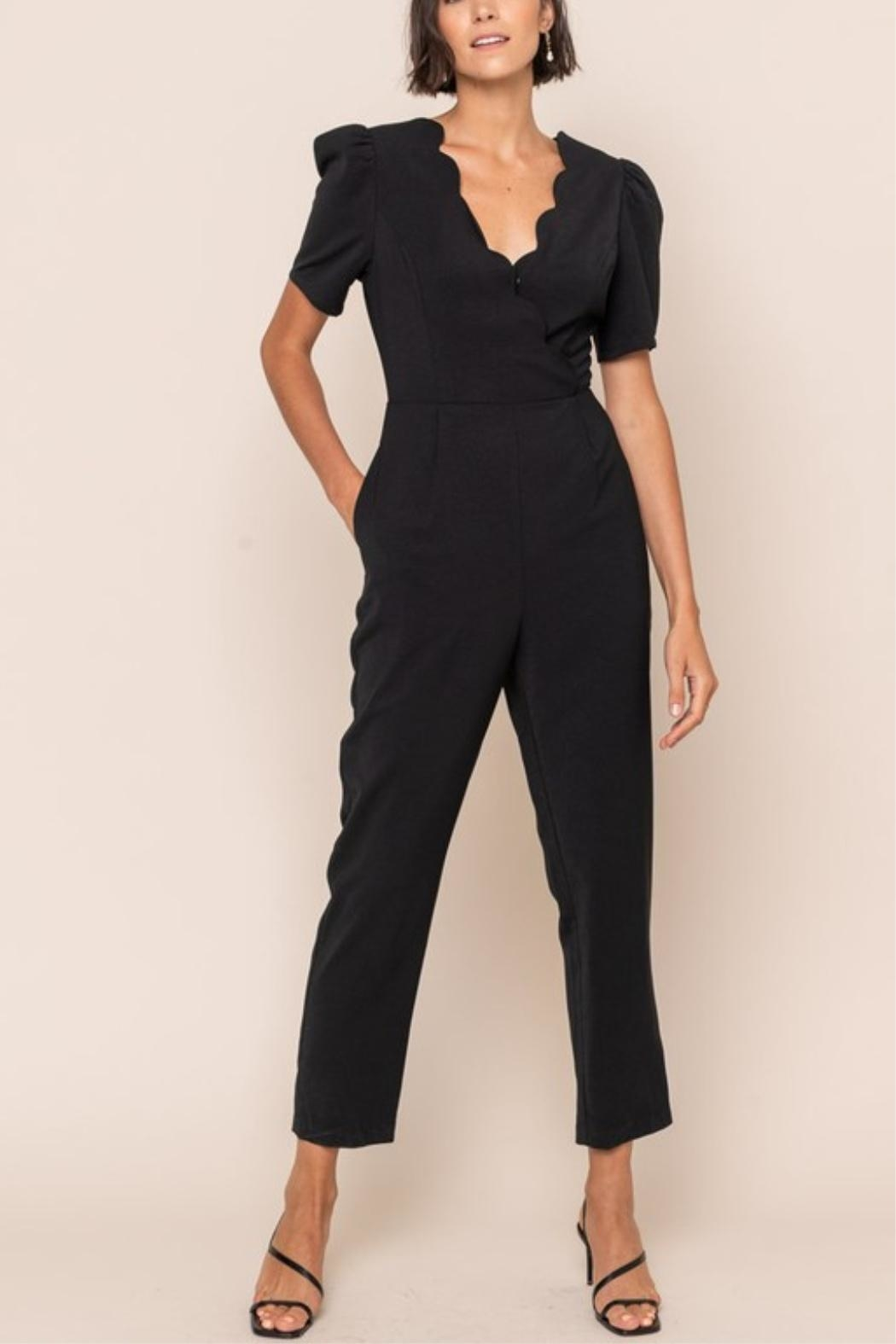 All In Favor Scallop Surplice Jumpsuit - Side Cropped Image