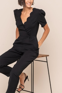 All In Favor Scallop Surplice Jumpsuit - Product List Image