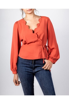 All In Favor Scallop Wrap Blouse - Product List Image