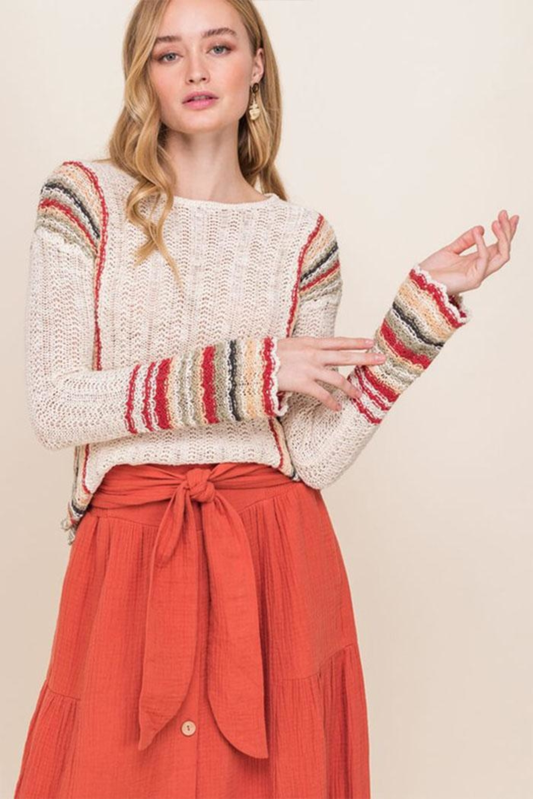 All In Favor Stripe Knit Sweater - Main Image