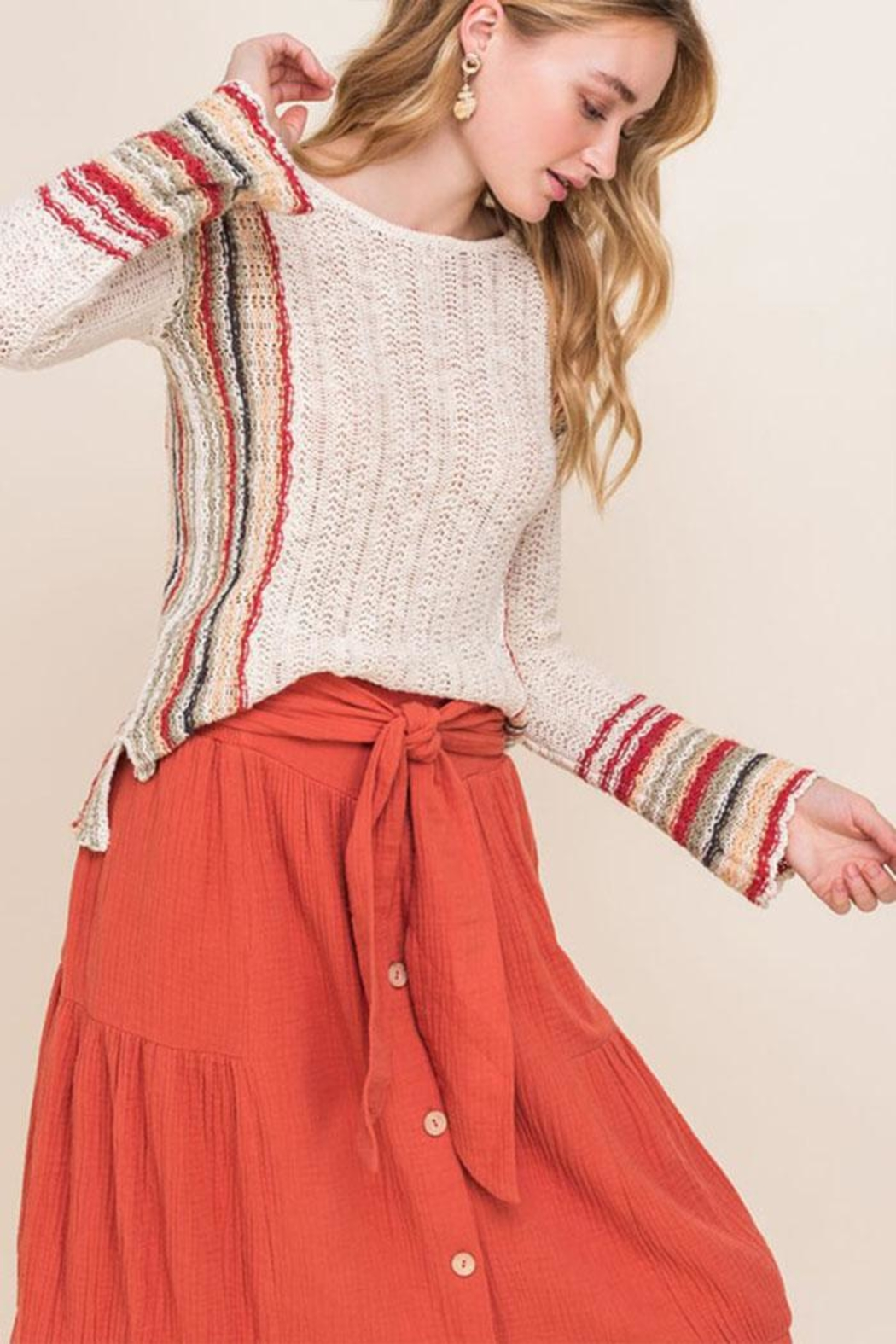 All In Favor Stripe Knit Sweater - Side Cropped Image