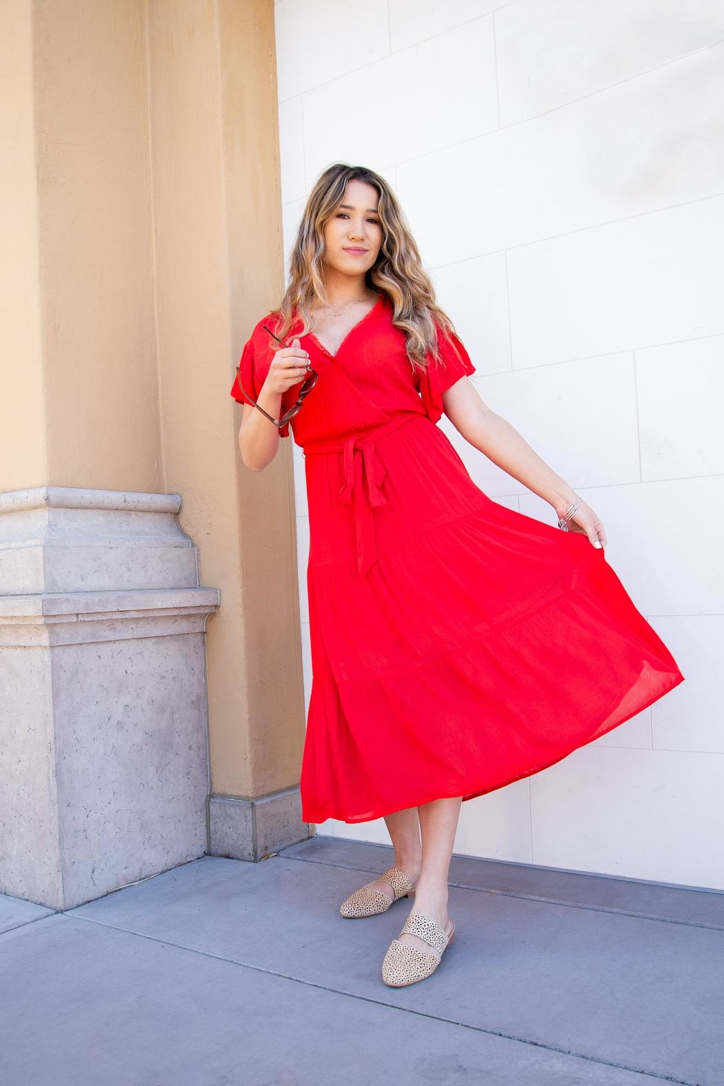 All In Favor Tiered Wrap Midi-Dress - Front Full Image