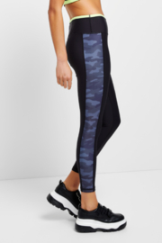 Allfenix Allfeinix Black Legging with Camouflage tonal stripe on the side and hit of neon at the waistband - Product Mini Image