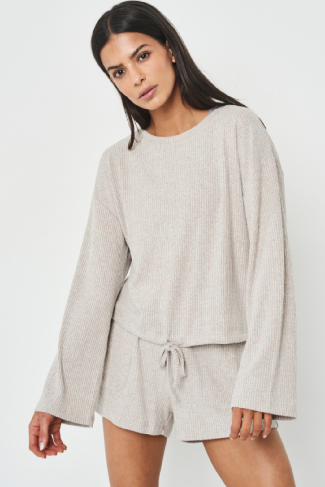 Allfenix Oatmeal Ribbed Sweater with Drawstring hem - Front Cropped Image