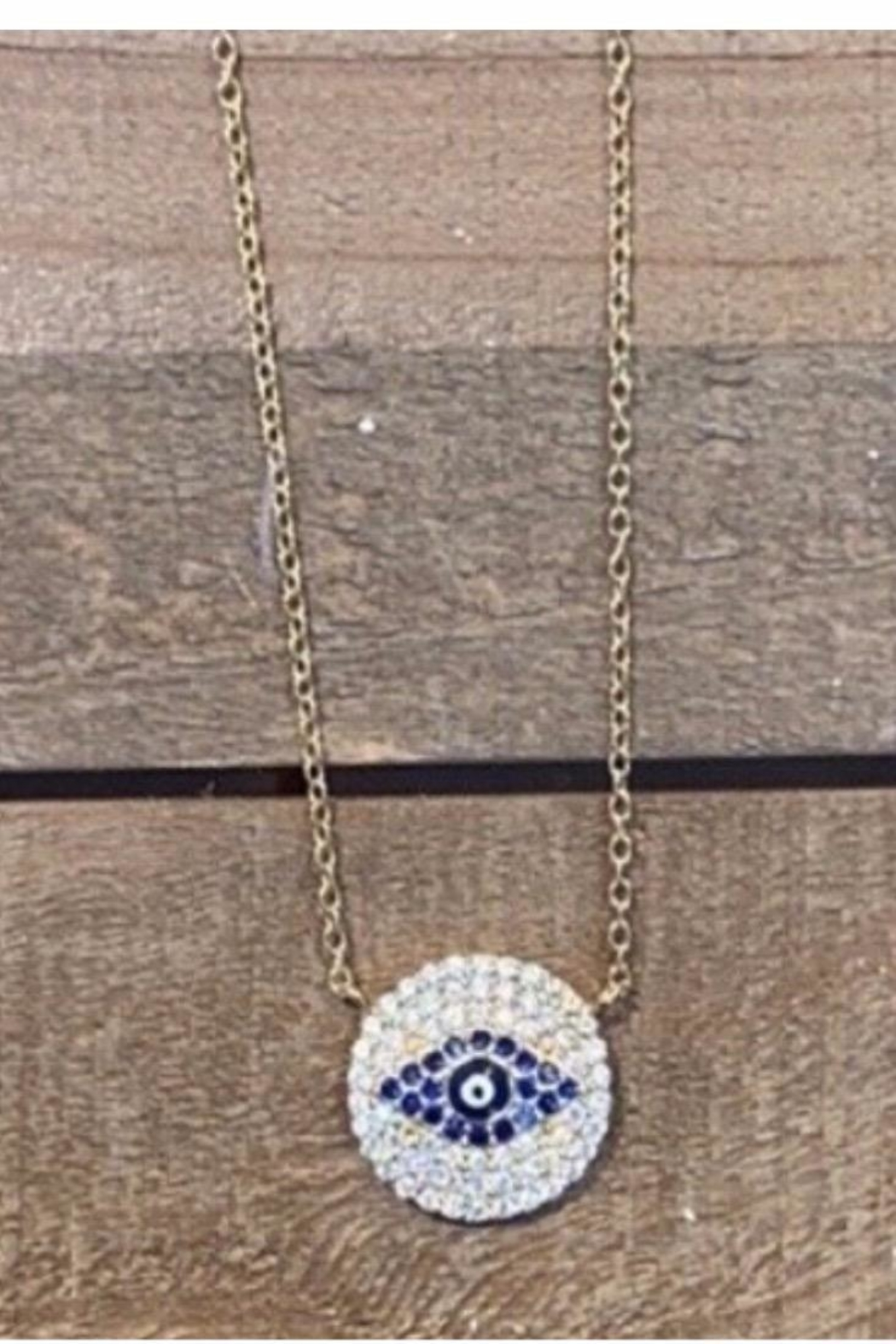 Allie & Chica Gold Evil Eye Disc - Front Cropped Image