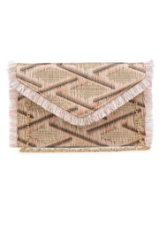 Allie & Chica Pink Fringe Clutch - Front cropped