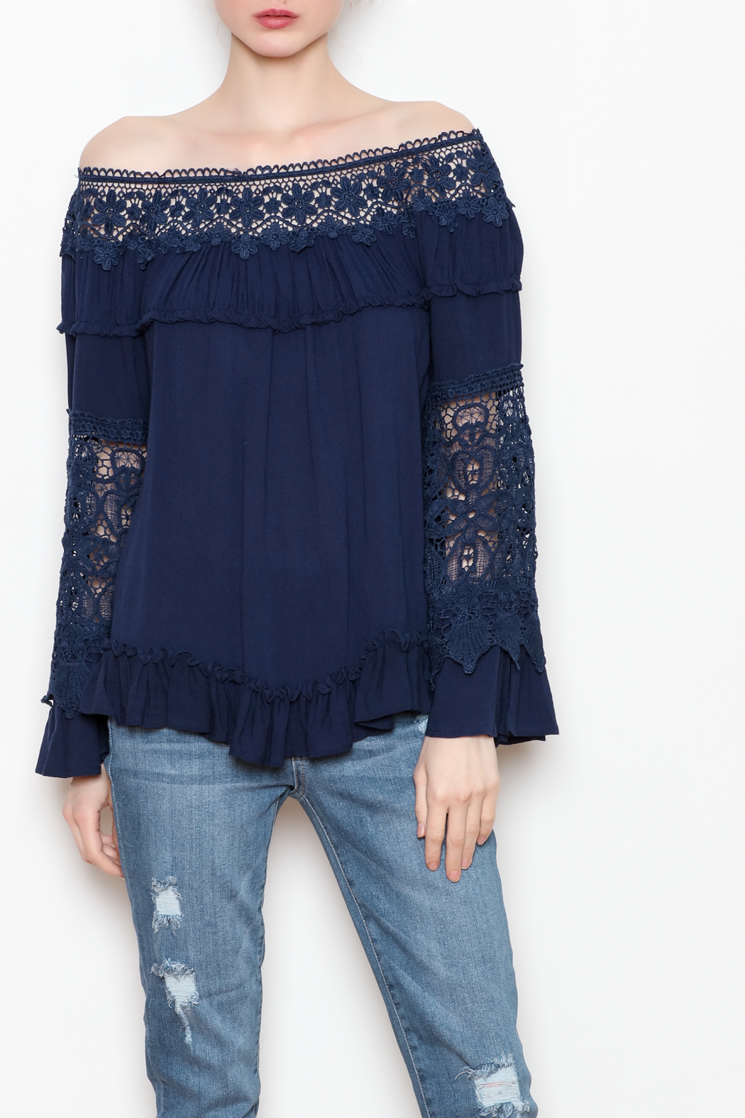 Allison Collection Lace OTS Top - Front Cropped Image