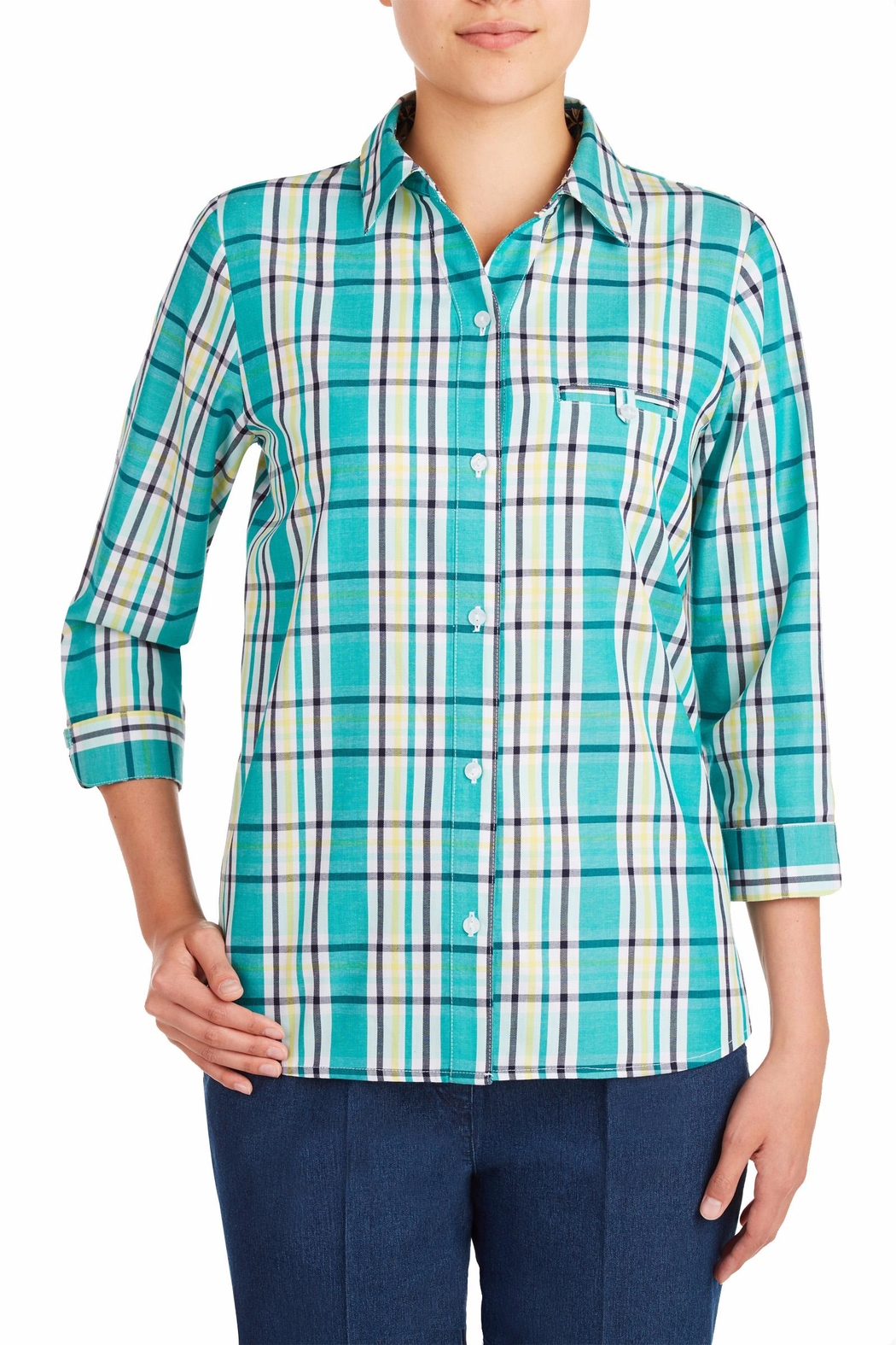 Allison Daley Blue Plaid Blouse - Main Image