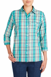 Allison Daley Blue Plaid Blouse - Front cropped