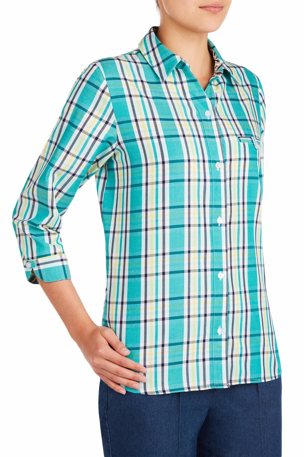 Allison Daley Blue Plaid Blouse - Front Full Image