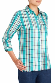 Allison Daley Blue Plaid Blouse - Front full body