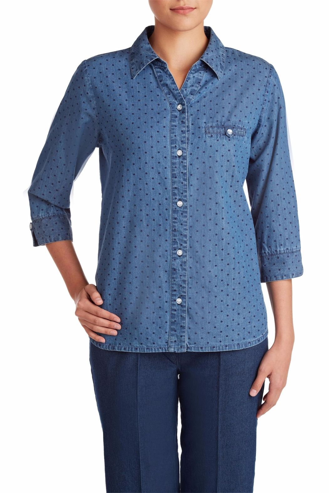 Allison Daley Navy Dot Blouse - Front Cropped Image