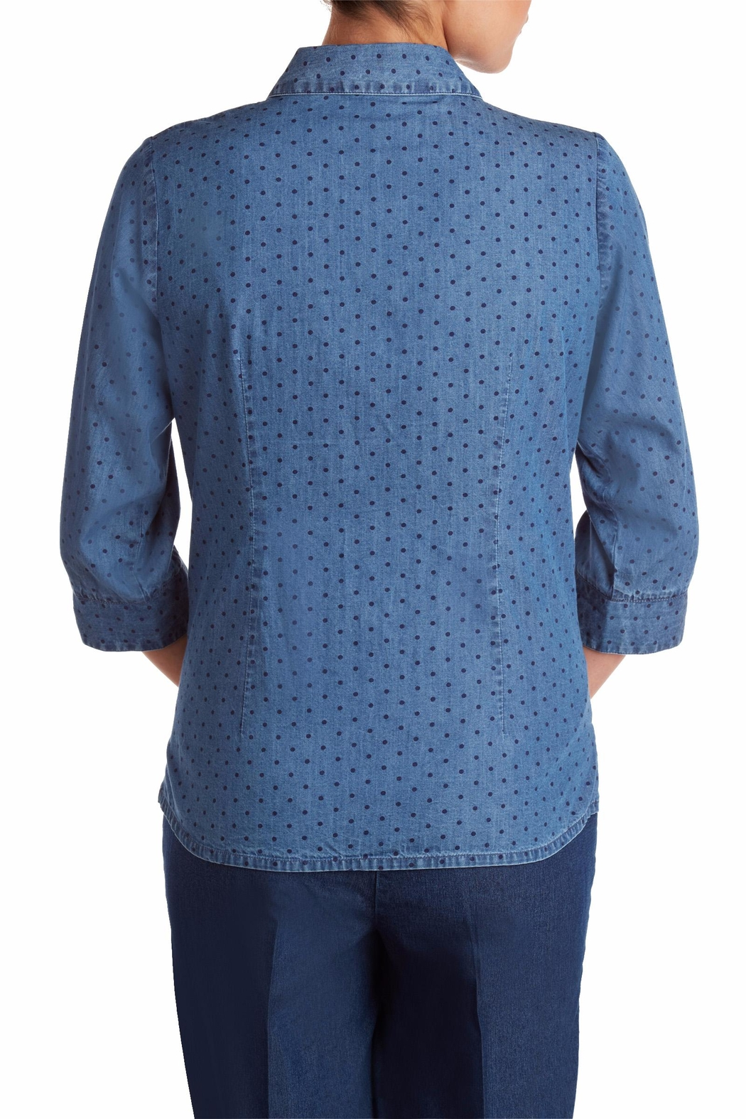 Allison Daley Navy Dot Blouse - Side Cropped Image