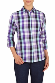 Allison Daley Purple Plaid Shirt - Front cropped