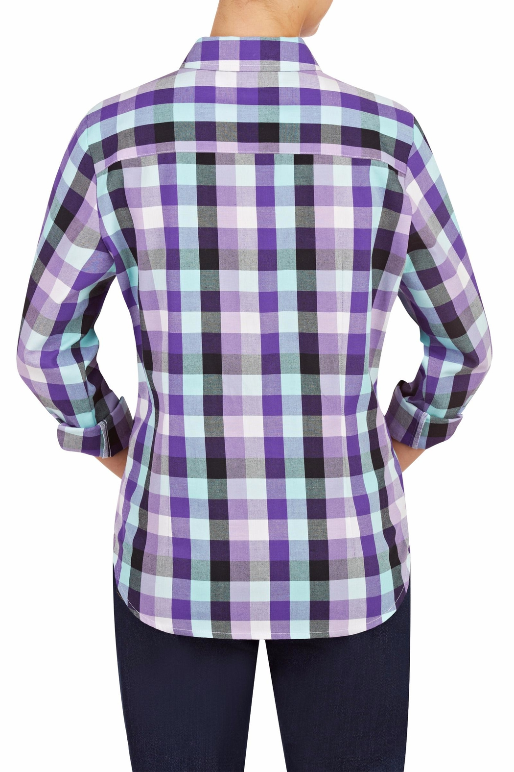 Allison Daley Purple Plaid Shirt - Side Cropped Image