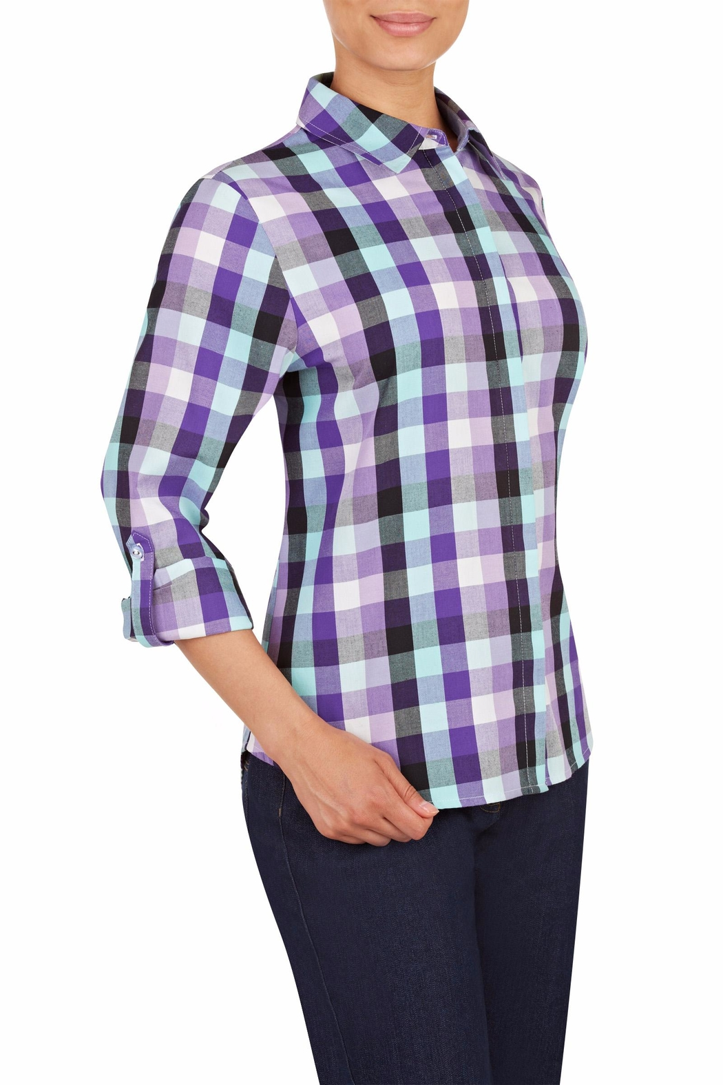 Allison Daley Purple Plaid Shirt - Front Full Image