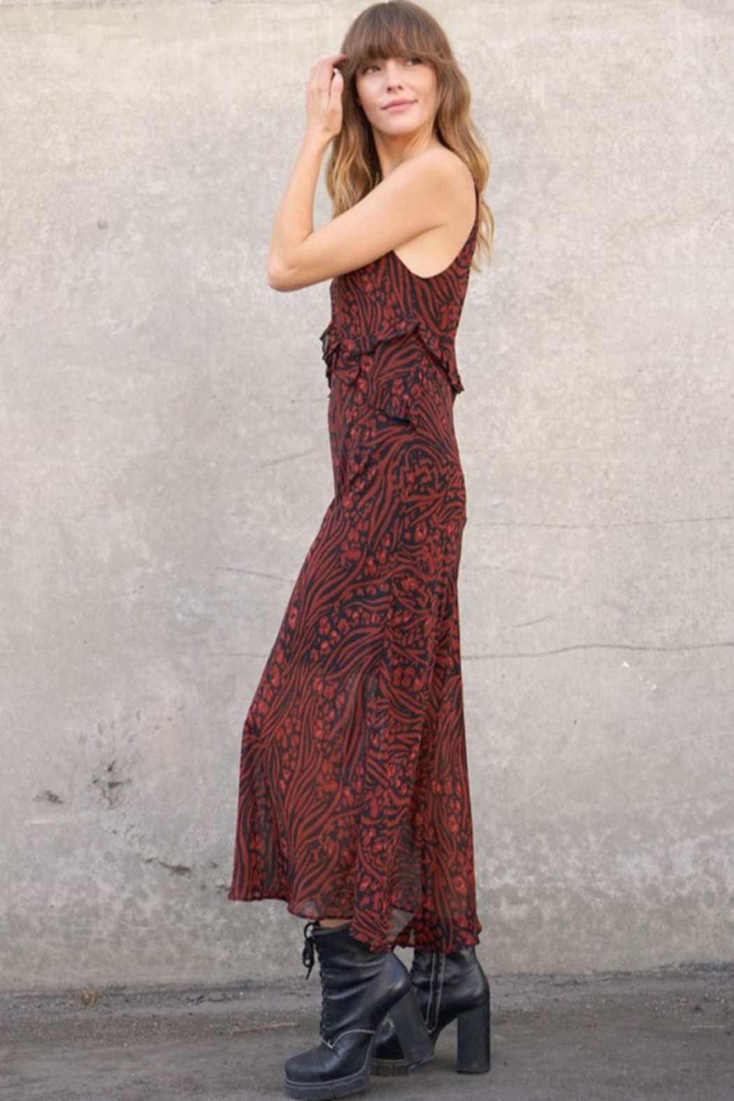 Timing Allister Ruffled Maxi Dress - Front Full Image