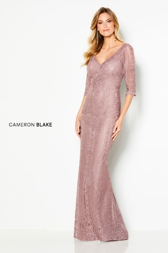 Cameron Blake Allover Lace Sheath Gown - Product List Image