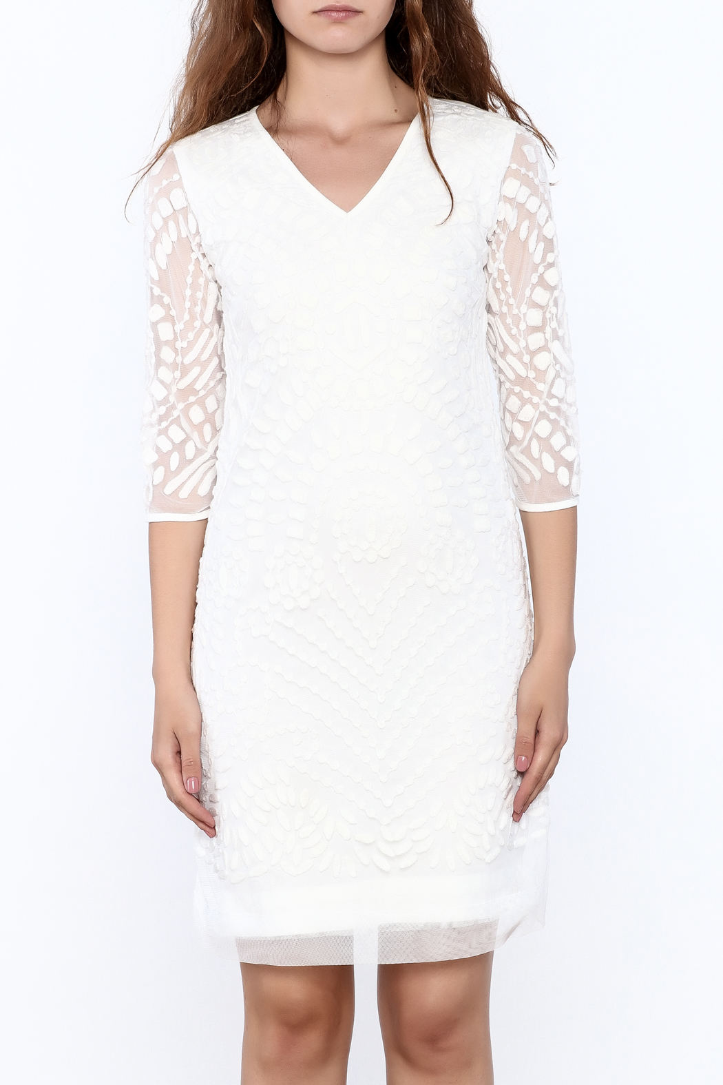 Almatrichi White Lace Dress - Side Cropped Image