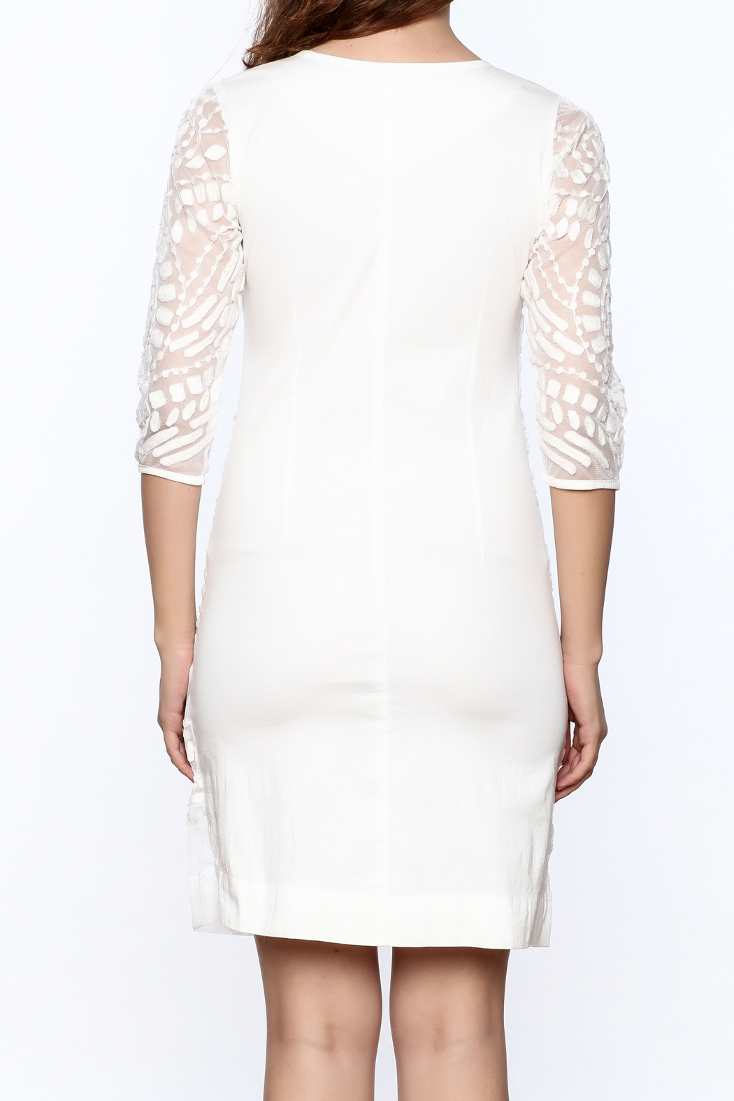 Almatrichi White Lace Dress - Back Cropped Image
