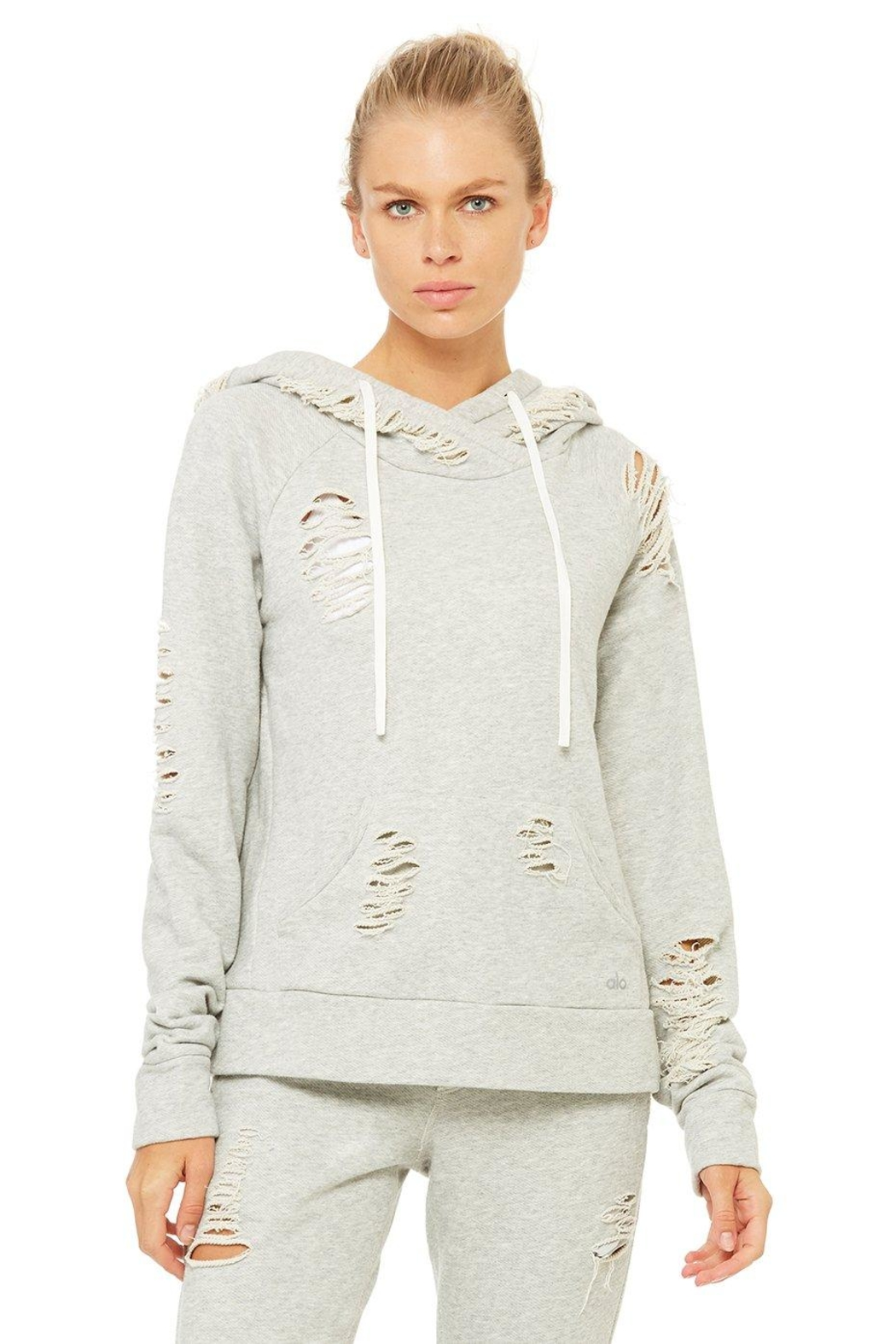 ALO Yoga Distressed Hoodie - Front Cropped Image