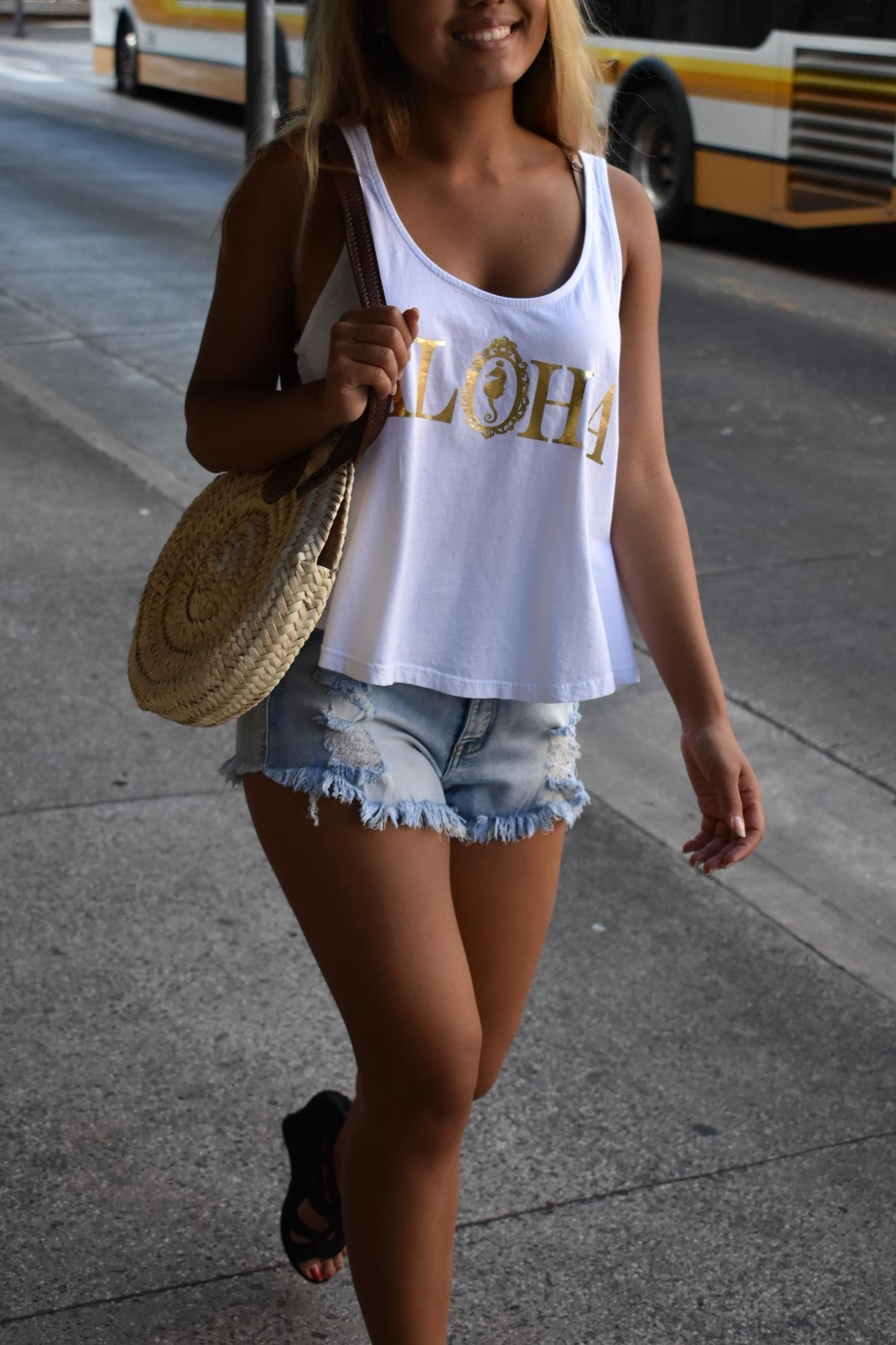 19th & Whimsy Aloha Crop Tank - Front Cropped Image