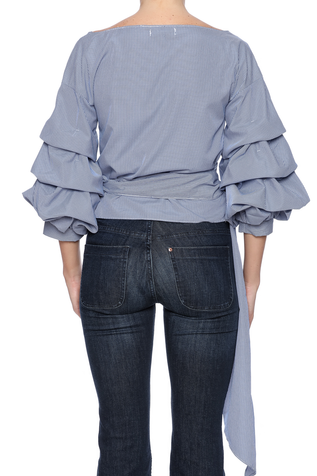 alpha & omega Ruffle Sleeve Top - Back Cropped Image