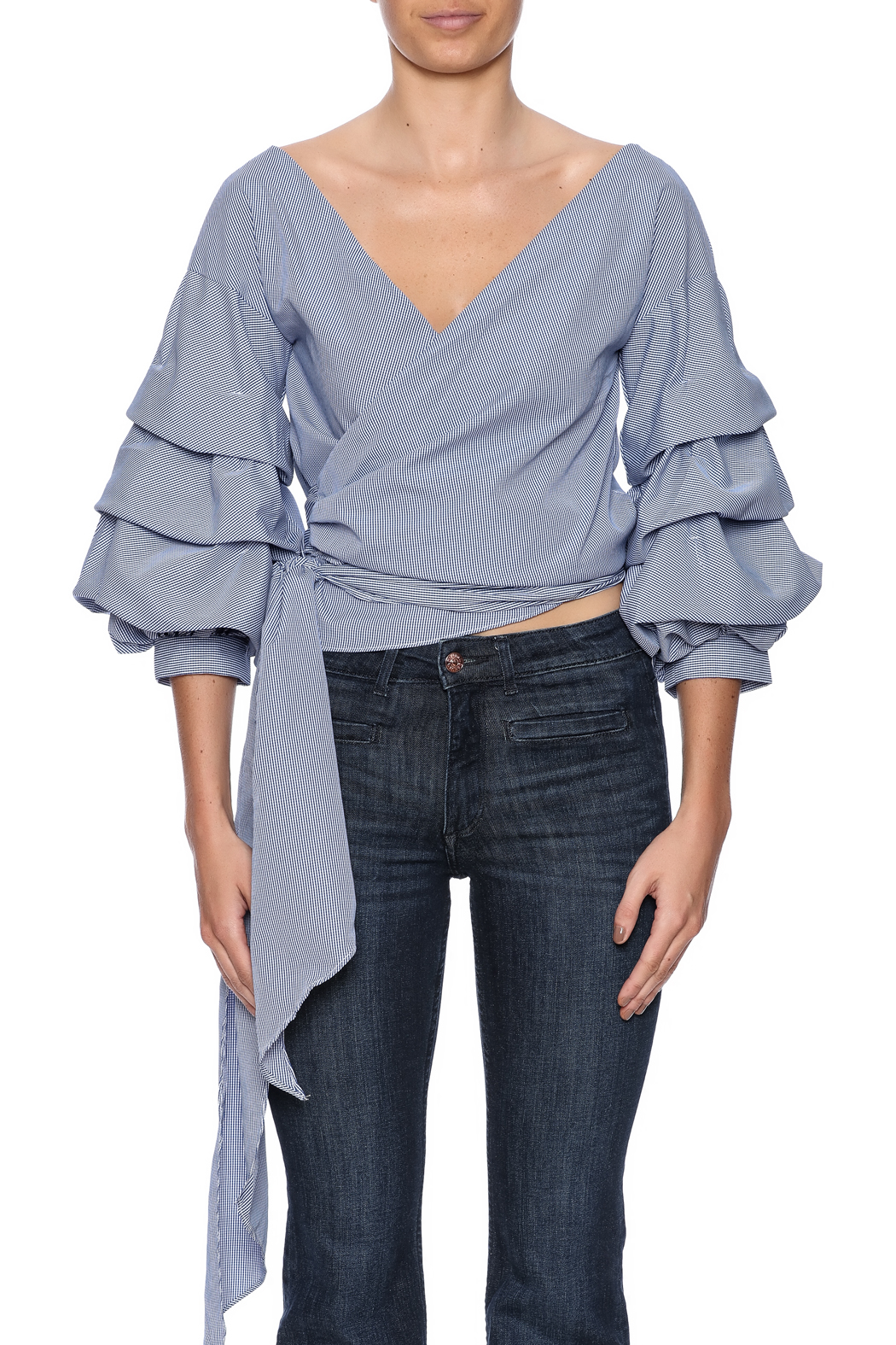 alpha & omega Ruffle Sleeve Top - Side Cropped Image