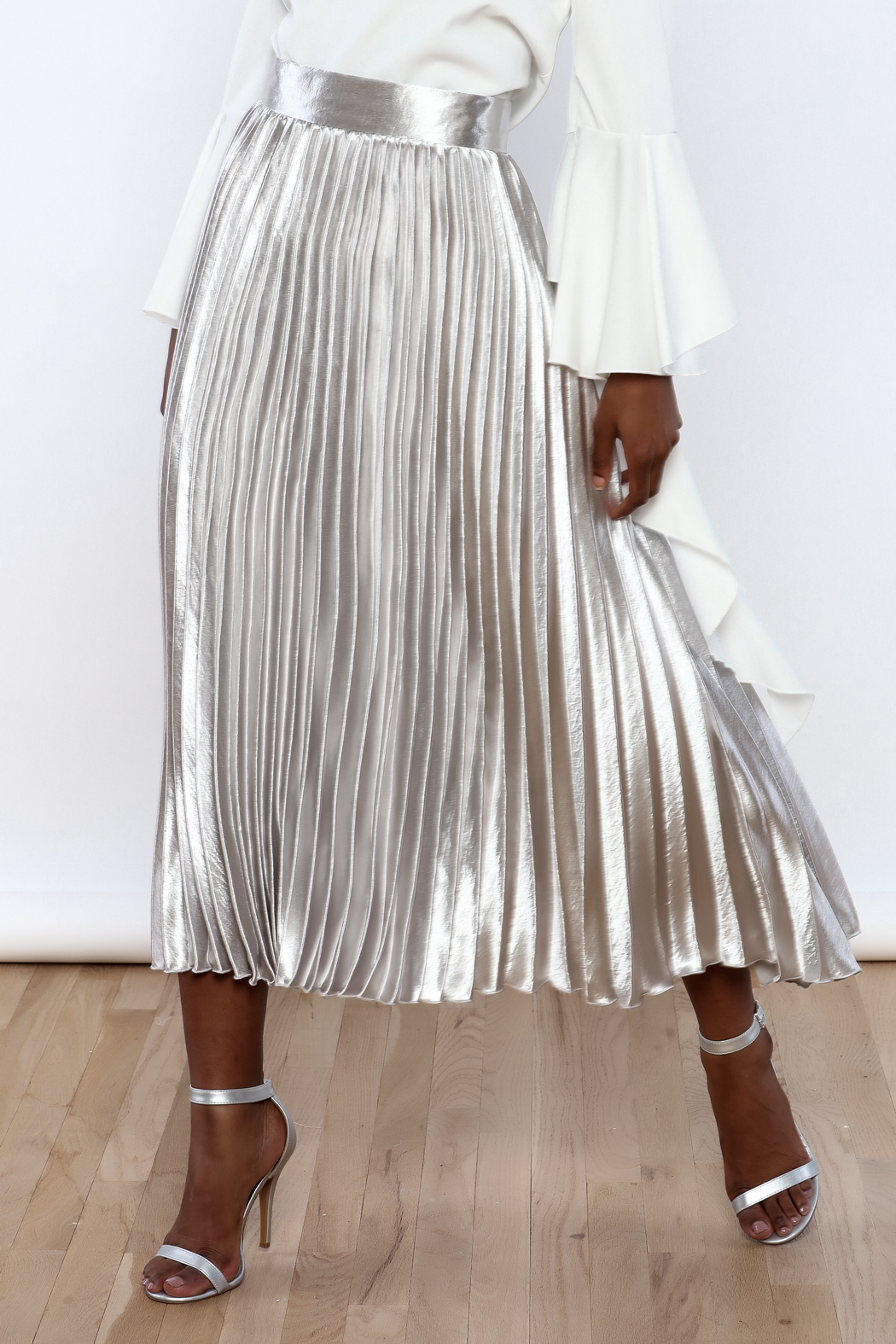 Alpha Amp Omega Metallic Pleated Skirt From New York City By