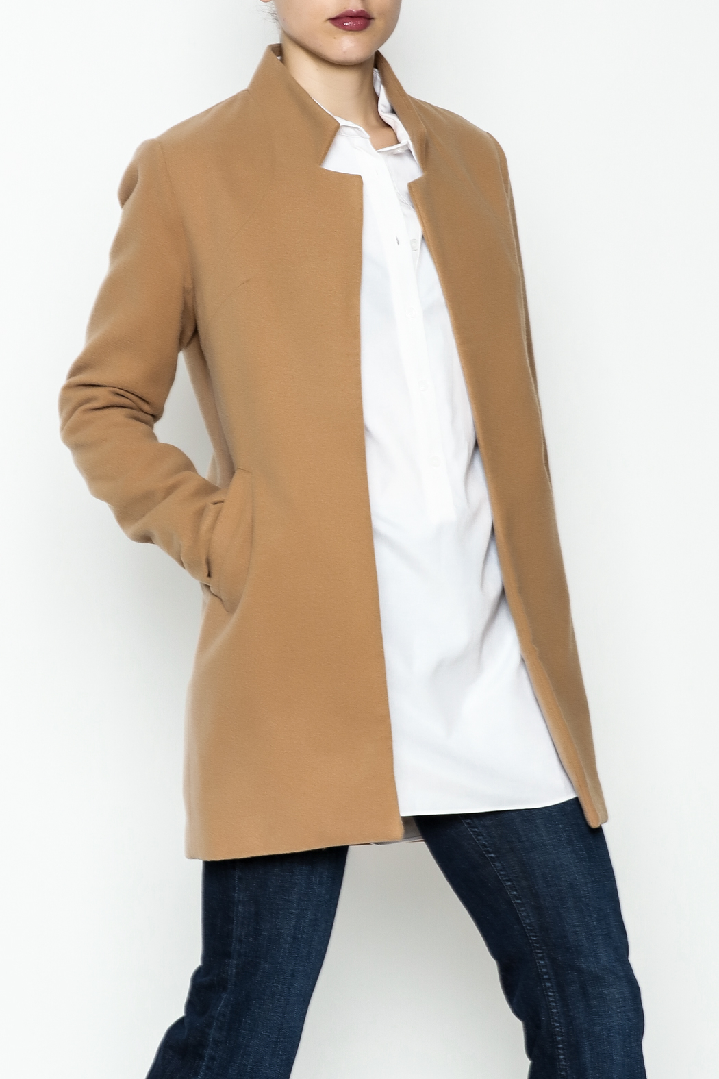 alpha & omega Solid Faux Wool Coat - Front Cropped Image