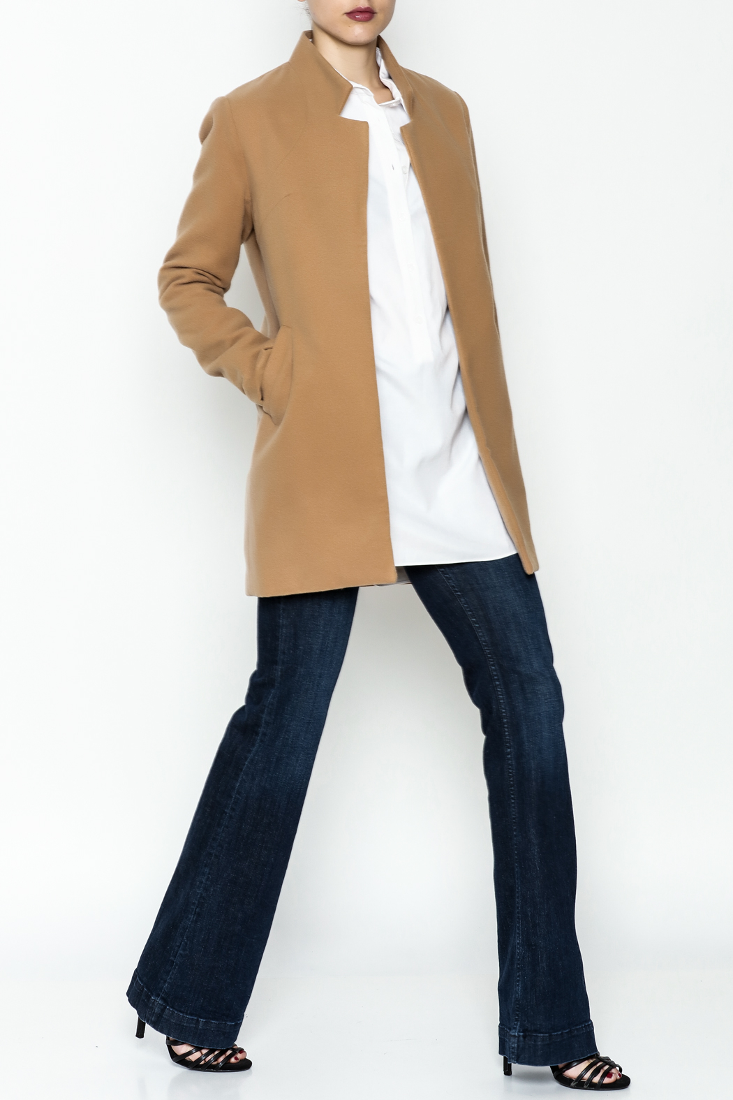 alpha & omega Solid Faux Wool Coat - Side Cropped Image