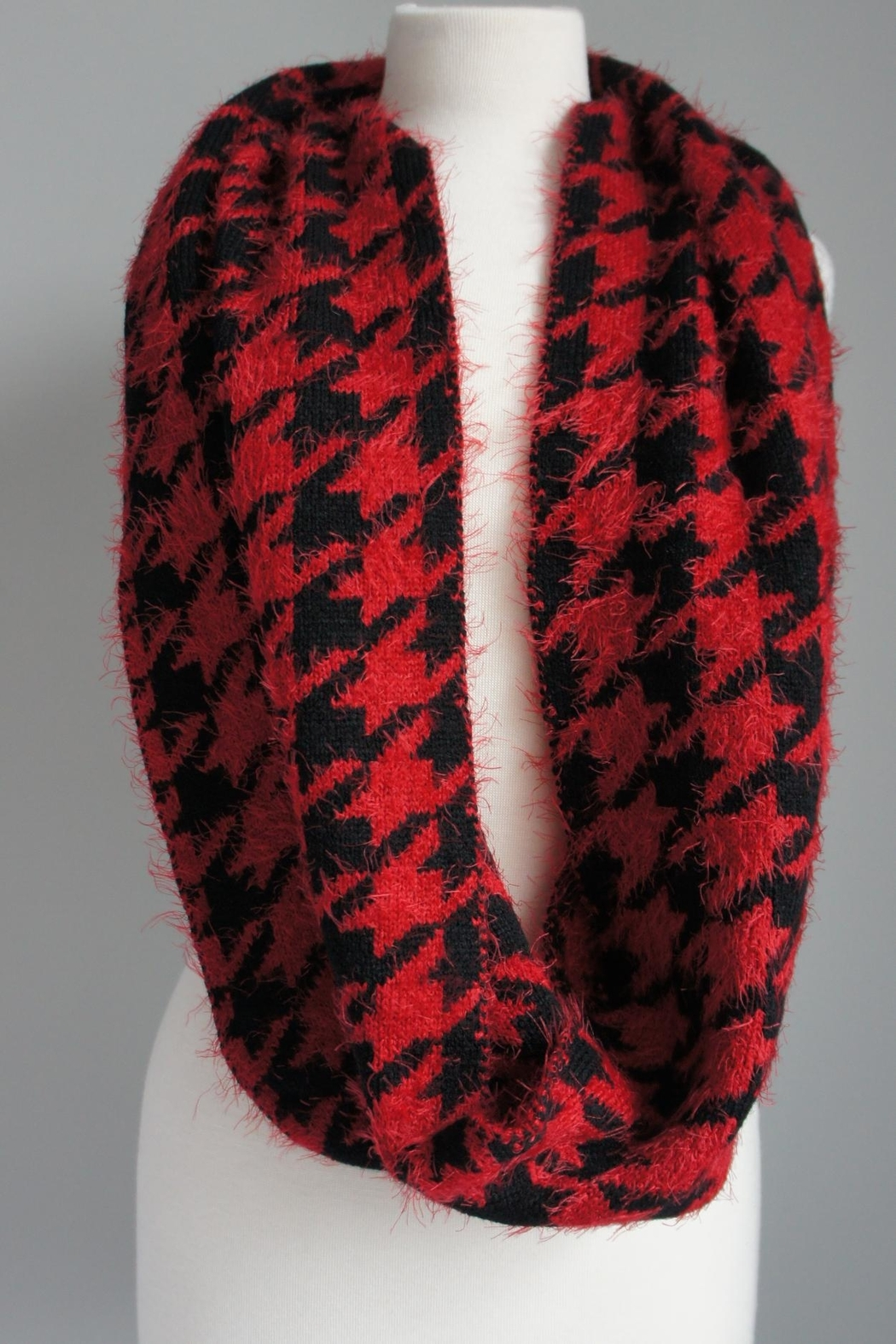 alpha & omega Red Houndstooth Sweater-Scarf - Main Image