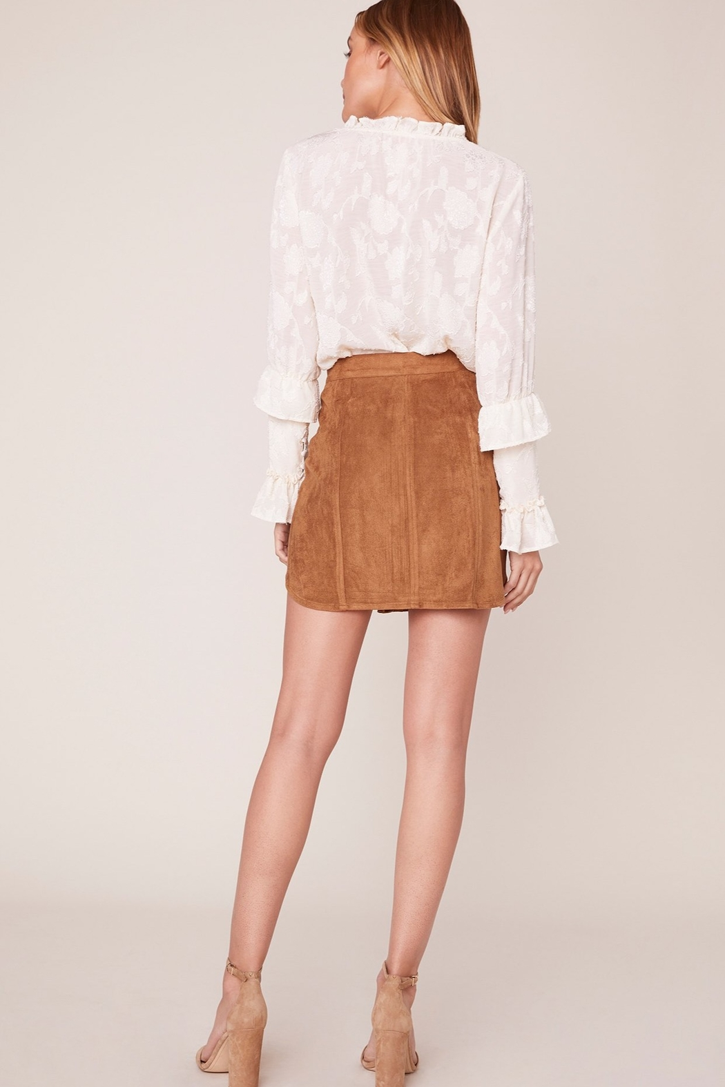 BB Dakota Alright Alright Faux Suede Skirt - Front Full Image