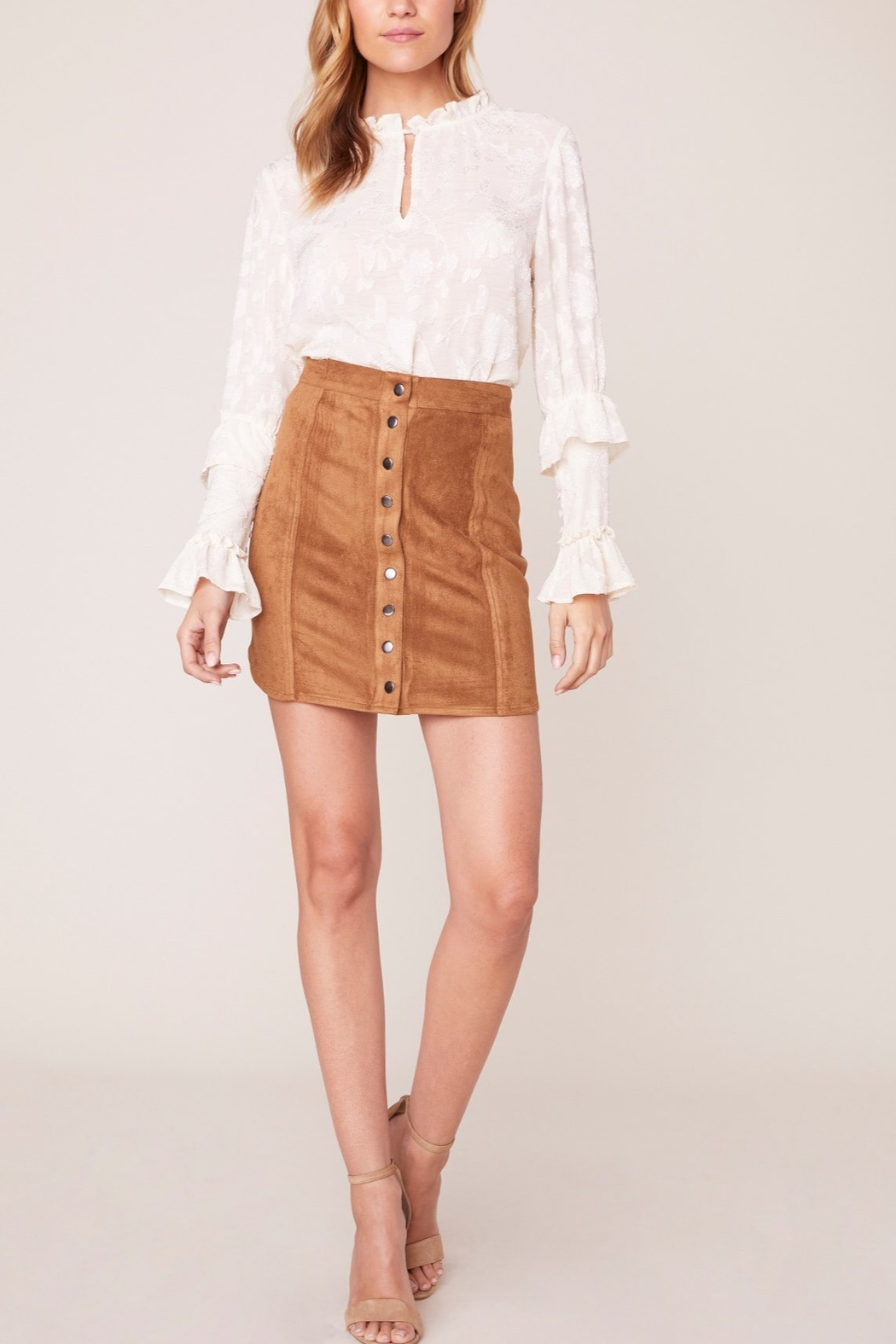 BB Dakota Alright Alright Faux Suede Skirt - Front Cropped Image