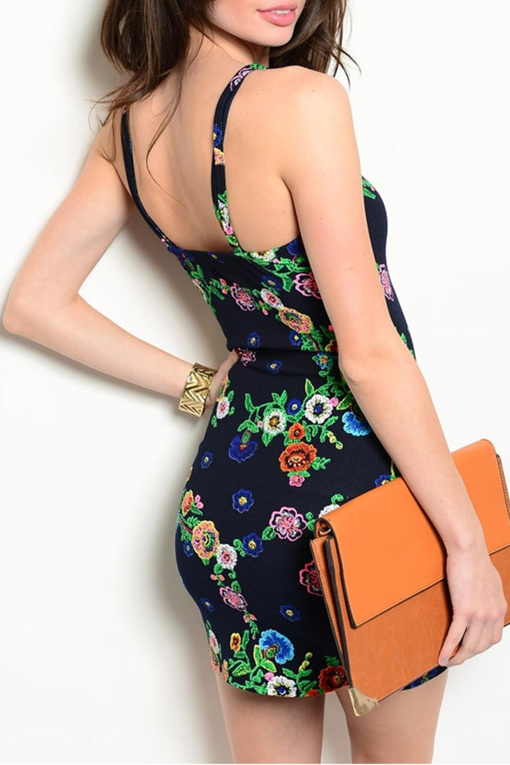 Always Navy Floral Dress - Front Full Image